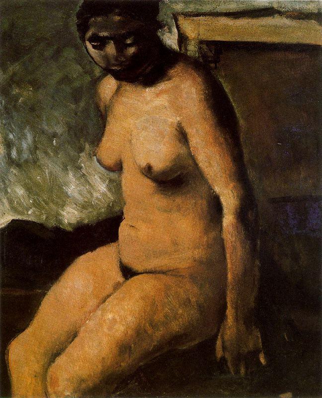 Марио Сирони. Обнаженная сидящая женщина