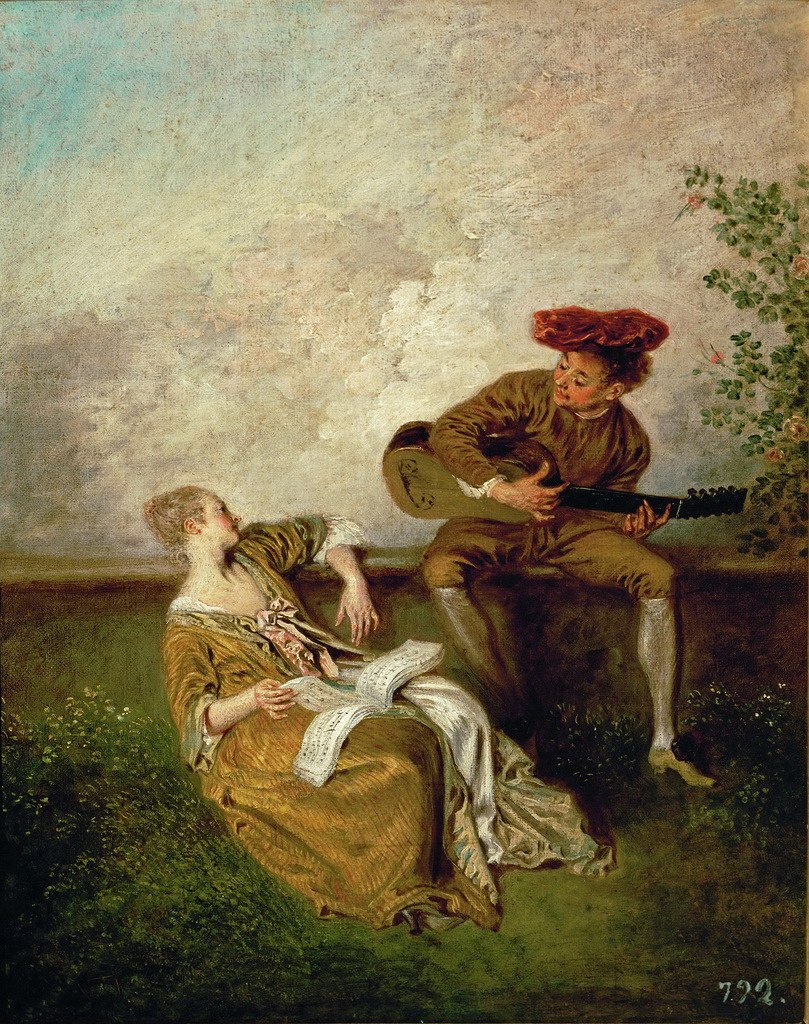 Antoine Watteau. Guitarist and young lady