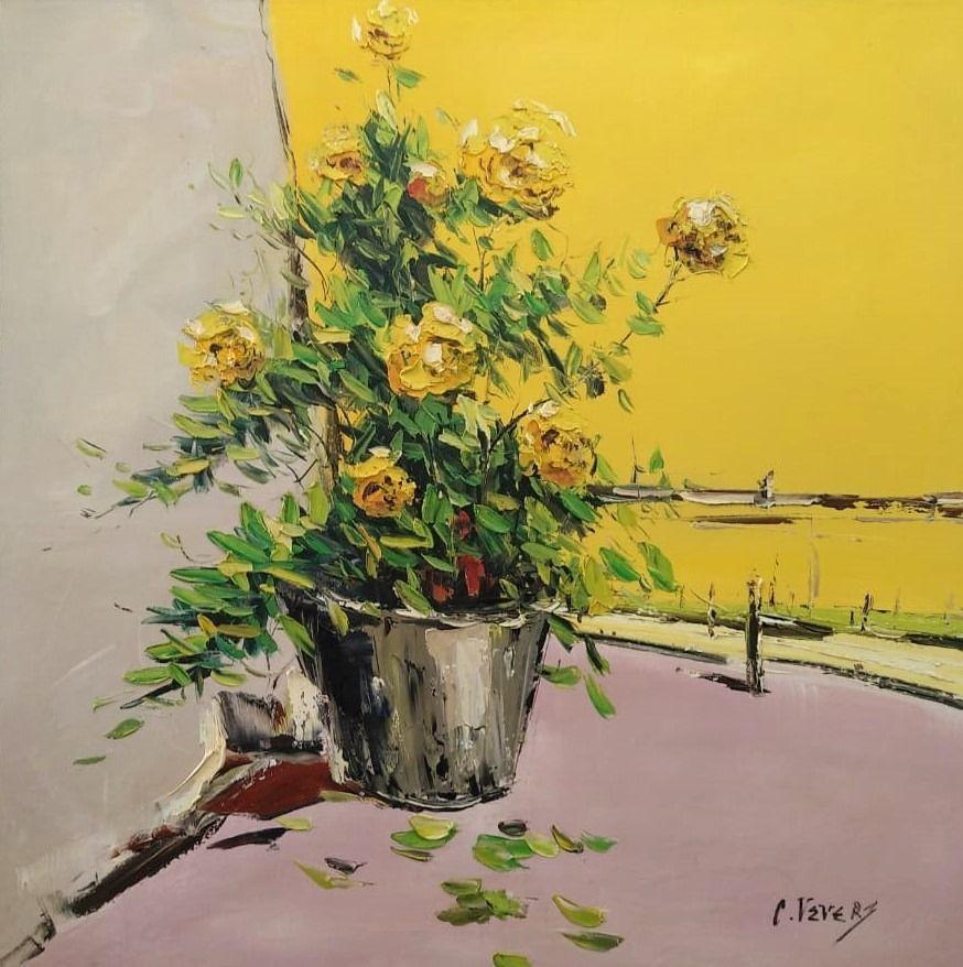 (no name). Still life with garden roses