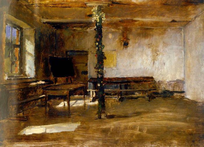 Михай Либ Мункачи. Интерьер комнаты со столом и украшенным столбом