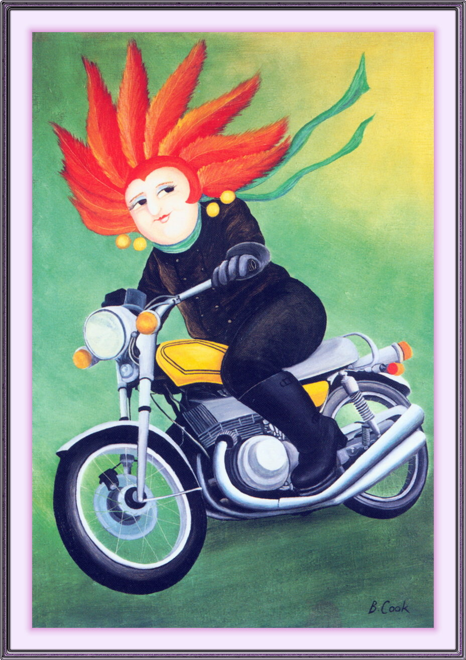 Beryl Cook. Brian on the motorcycle