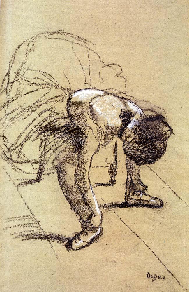 Эдгар Дега. Сидящая танцовщица, поправляющая ленты туфель