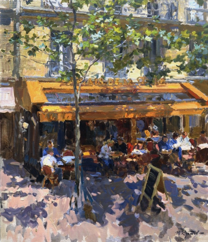 Yuri Krotov. View of the Parisian cafe from the hotel window. 2006 71x61 Oil on canvas.