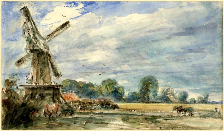 John Constable. A windmill and a farmer behind the plow