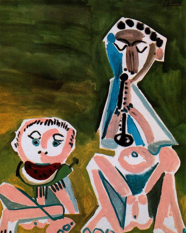 Pablo Picasso. Flautist and a man with a watermelon