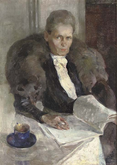 Mikhail Vasilyevich Nesterov. Portrait of woman in fur