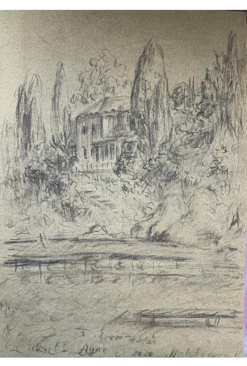 Victoria Malshakova. Sketch at Touala's restaurant. Greece