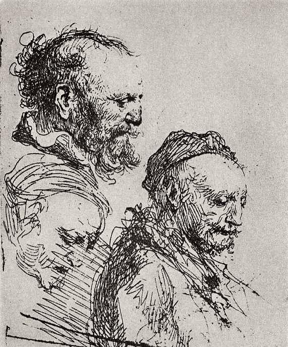 Рембрандт Харменс ван Рейн. Три зарисовки головы старика