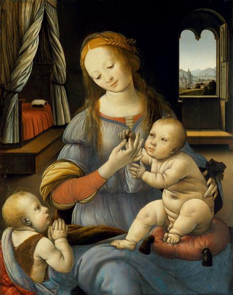 Lorenzo di Credi. The virgin and child with Saint John