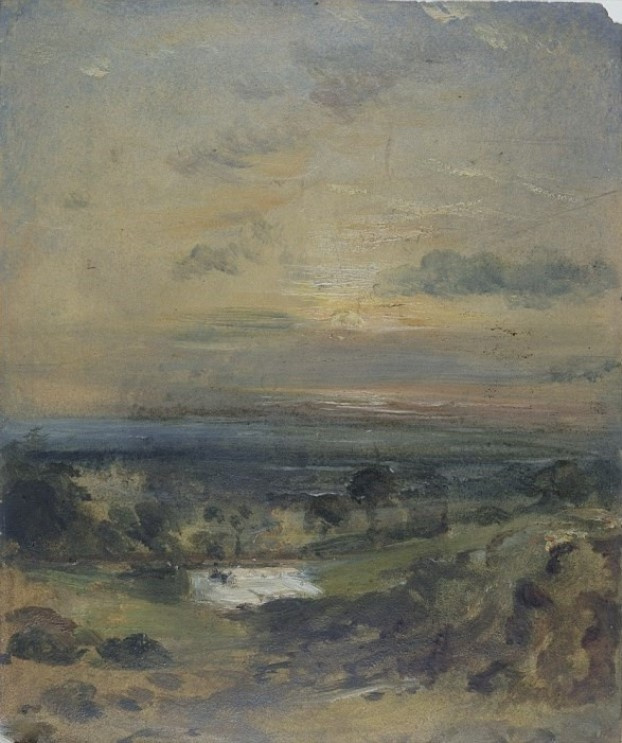 John Constable. Evening over the pond