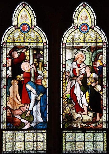 Dante Gabriel Rossetti. The Holy Family. Left window