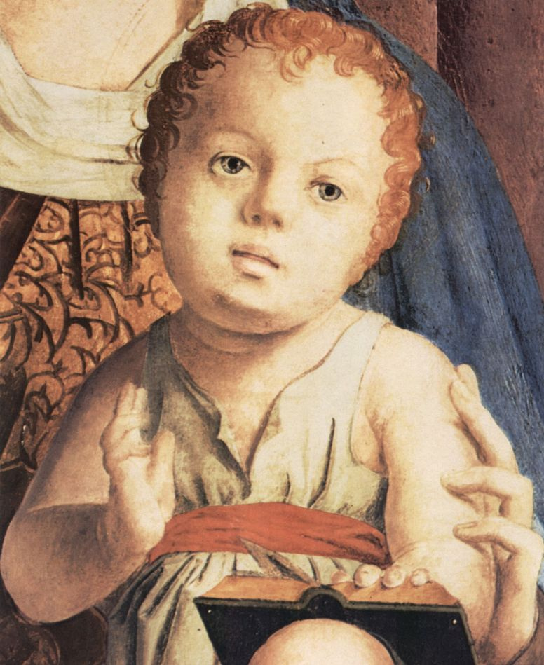 Антонелло да Мессина. Мадонна на троне, фрагментПала ди Сан Кассиано, Венеция, деталь: Младенец Христос