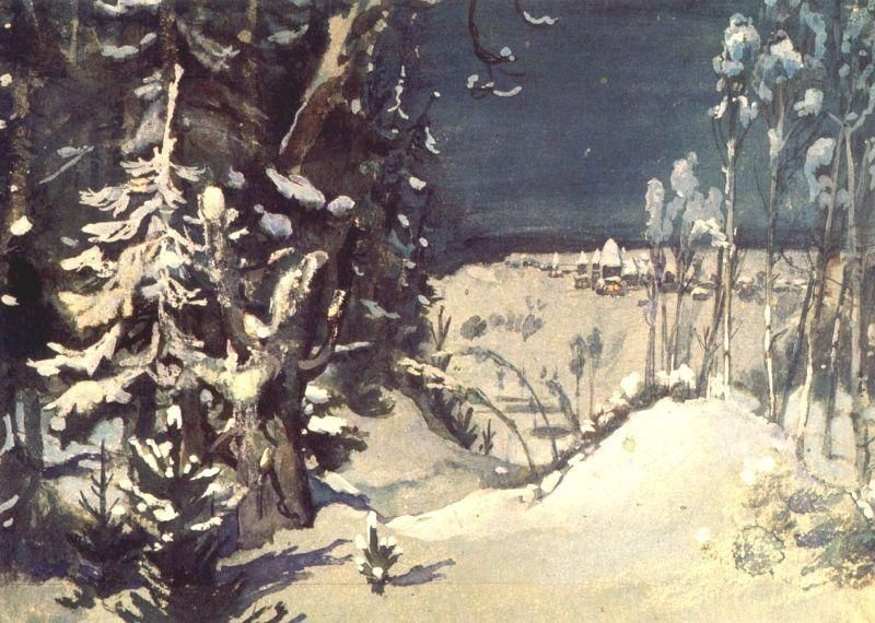 Victor Mikhailovich Vasnetsov. Prologue. A sketch of the scenery for the Opera N..Rimsky-Korsakov's The Snow Maiden