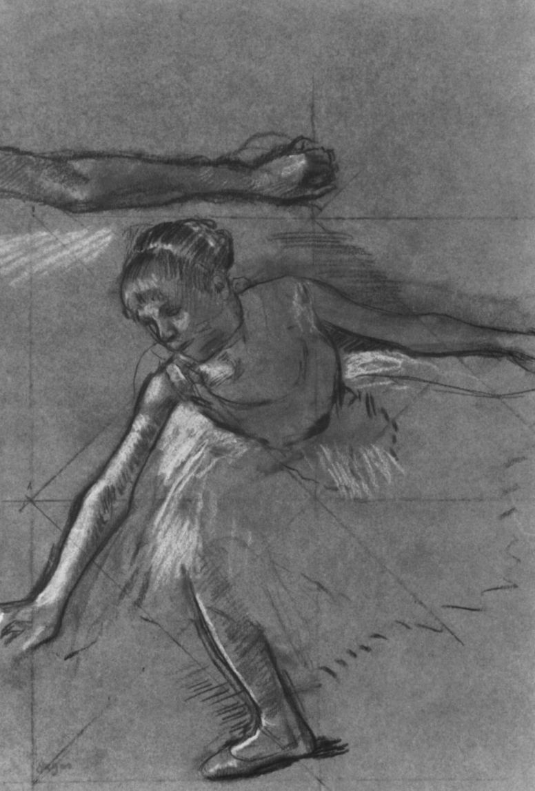Edgar Degas. Sheet with sketches of hands and a ballet dancer on the bow
