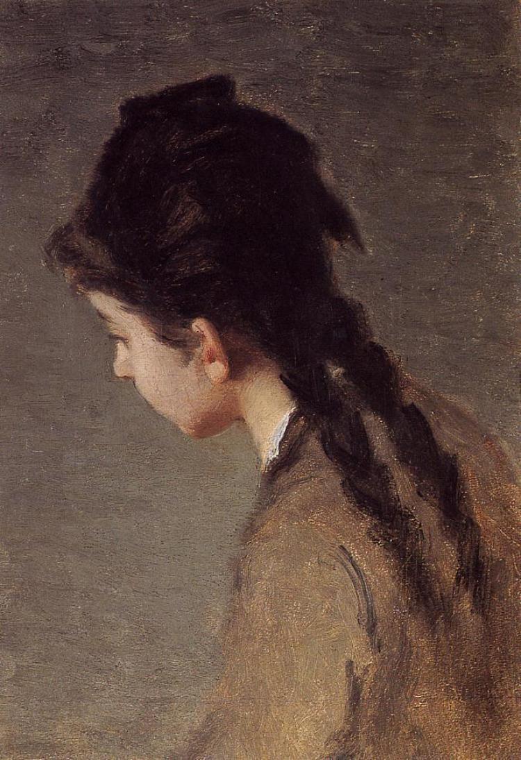 Eva Gonzalez. Portrait of Jeanne Gonzales in Profile