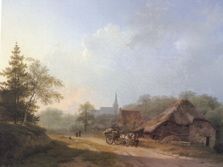Barend Cornelis Kukkuk. Carriage on a country road in summertime