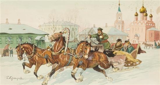 Boris Kustodiev. Running of the Troika through town