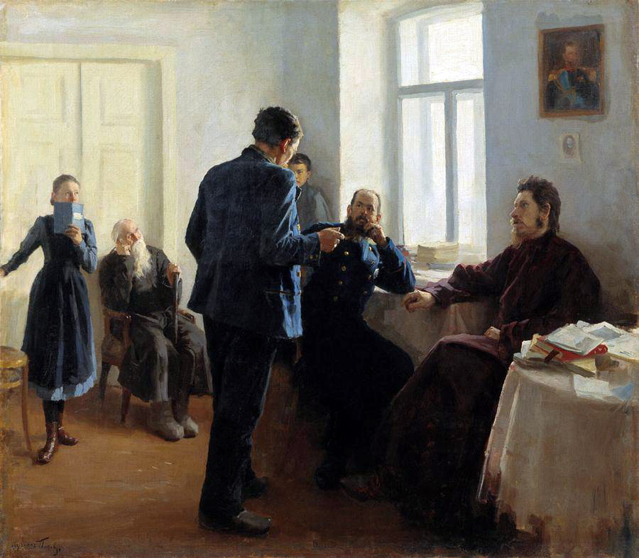 Lukian Vasilyevich Popov. Where is the truth? (Seekers of truth). 1903 Rybinsk State Historical-Architectural and Art Museum-Reserve, Yaroslavl Region.