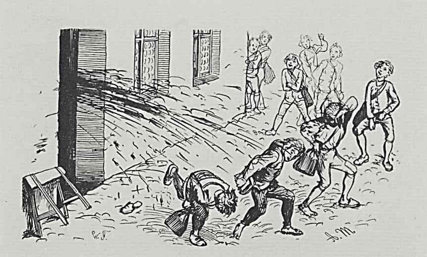 Адольф фон Менцель. Иллюстрация к сочинению Бертольда Ауэрбаха Слесарь из Виттенберга, Слесарь обдает помоями издевающихся над ним школяров
