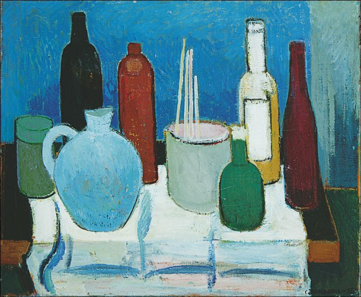Туве Янссон. Натюрморт с кувшином и бутылками
