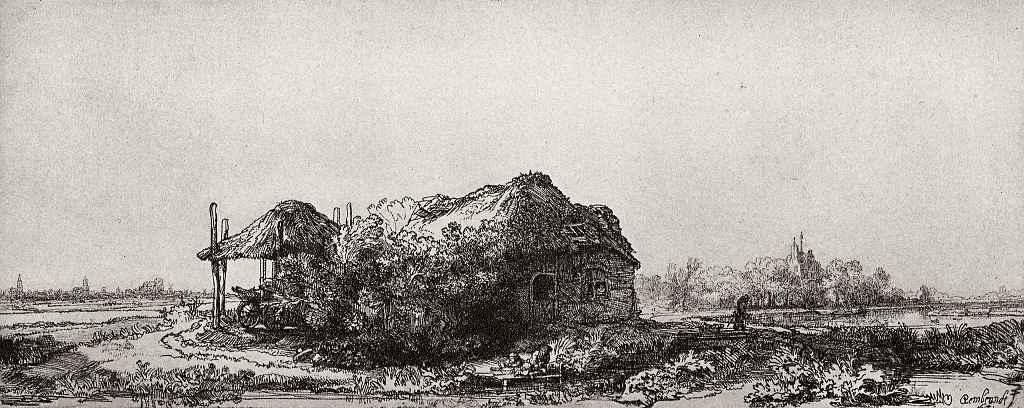 Рембрандт Ван Рейн. Хижина с сеновалом