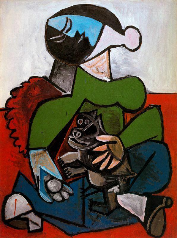 Пабло Пикассо. Сидящая женщина с собакой