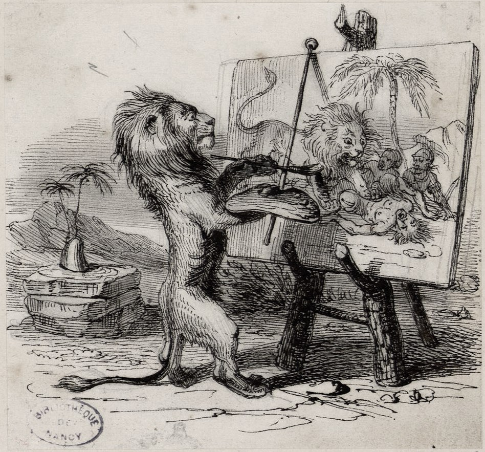 Jean Inias Isidore (Gerard) Granville. A lion, struck by a Man (Leo and Man). Illustrations to the fables of Jean de Lafontaine