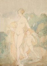 Natalia Nikolaevna Agapieva - Zakharova. Nude woman with a girl. Early 1920s Watercolor and pencil on paper. 24 x 17.2
