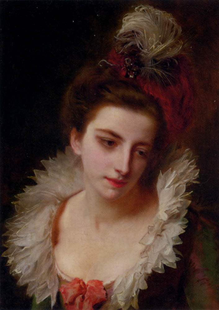 Lady in a hat with a plume by Gustave Jean Jacquet: History ...