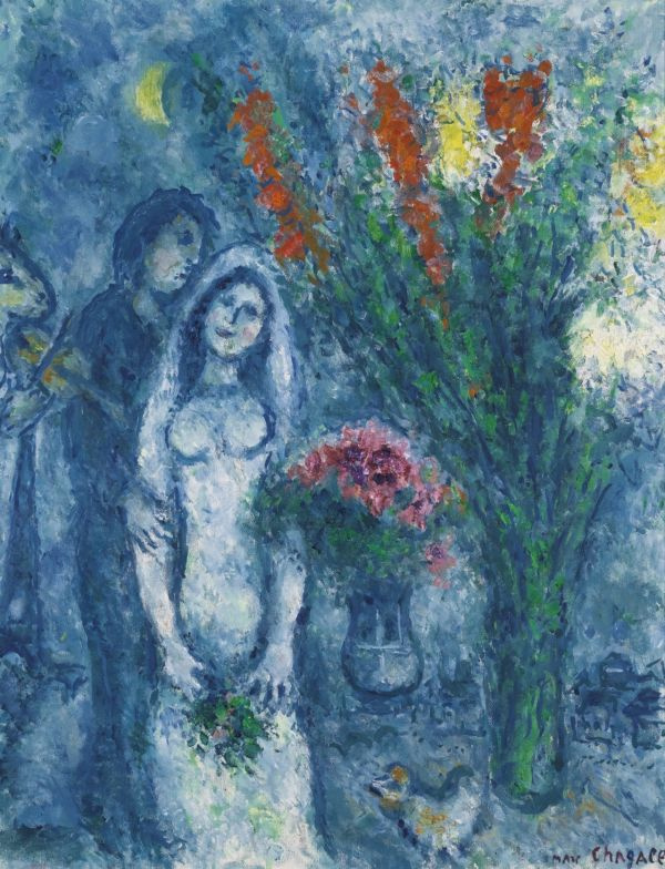 Marc Chagall. Newlyweds with two bouquets