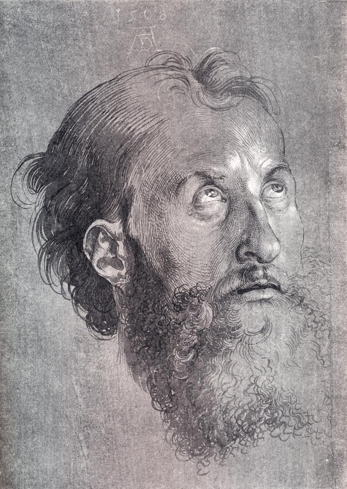 Albrecht Durer. Head of an Apostle looking upward