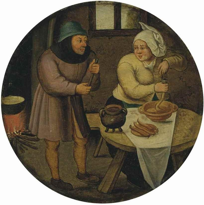 Peter Brueghel the Younger. Woman cooking sausage