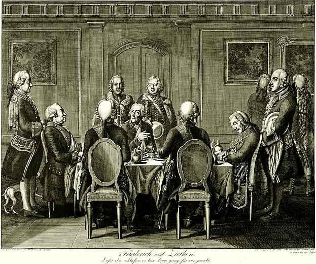 Даниэль  Николай Ходовецкий. Генерал фон Зитен, спящий за столом Фридриха II