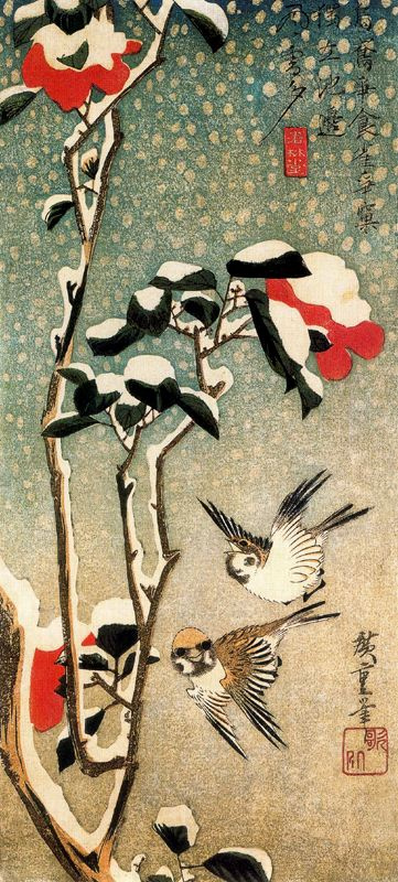 """Утагава Хиросигэ. Воробьи и заснеженная камелия. Серия """"Птицы и цветы"""""""