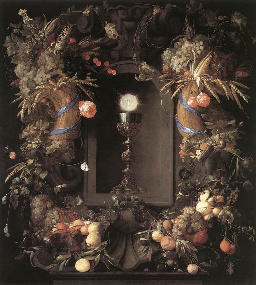 Ян Давидс де Хем. Евхаристия во фруктовом венке