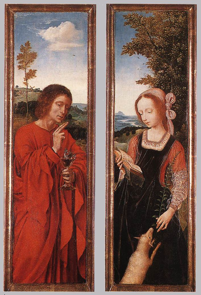 Quentin Masseys. Diptych: John the Baptist and Saint Agnes
