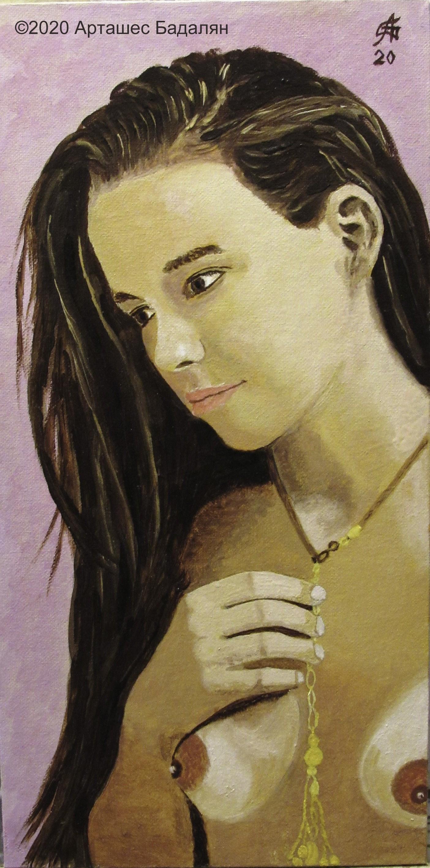 Artashes Badalyan. Fragment of a figure on violet - x-hardboard-m - 40x20