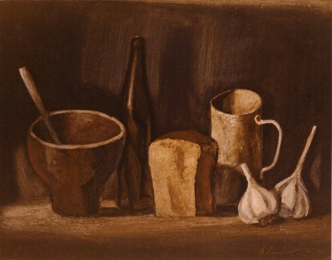 Vladimir Iosifovich Khmelevsky. Still life with garlic