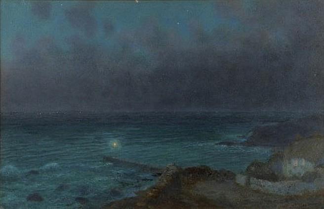 Arthur Hughes. Coast in the moonlight