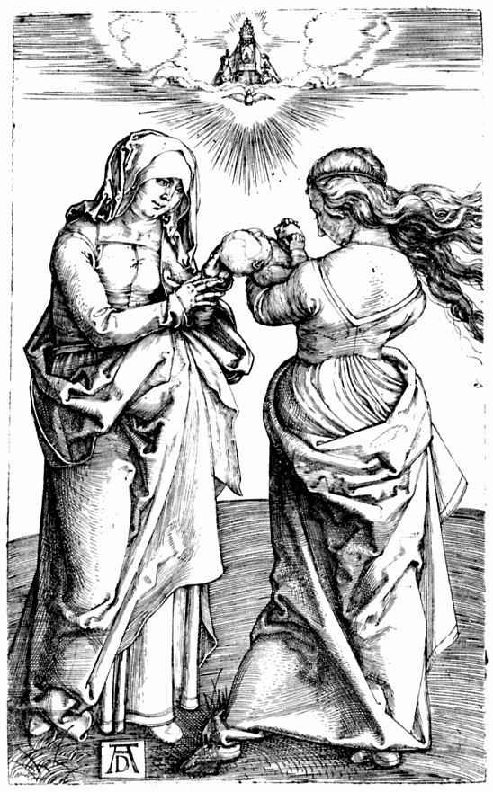 Альбрехт Дюрер. Мадонна с младенцем Христом и святой Анной