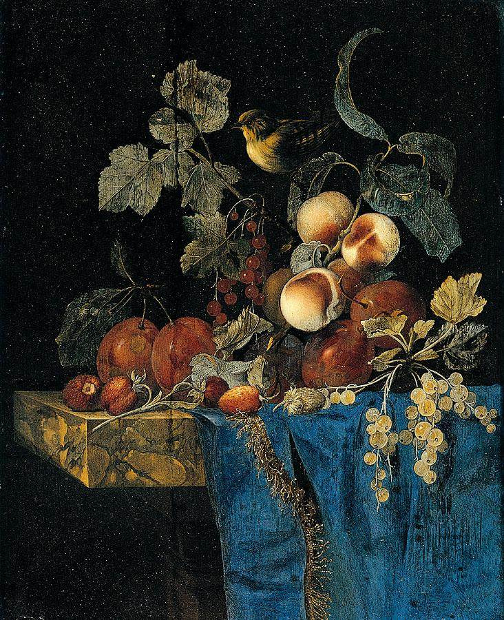 Willem van Aelst. Still life with poultry and fruit