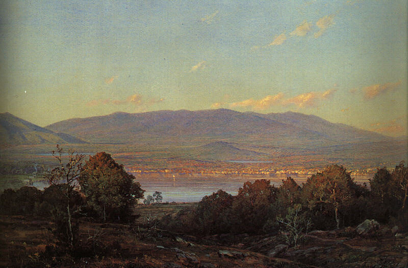 William Trost Richards. Sunset in the centre of the harbour