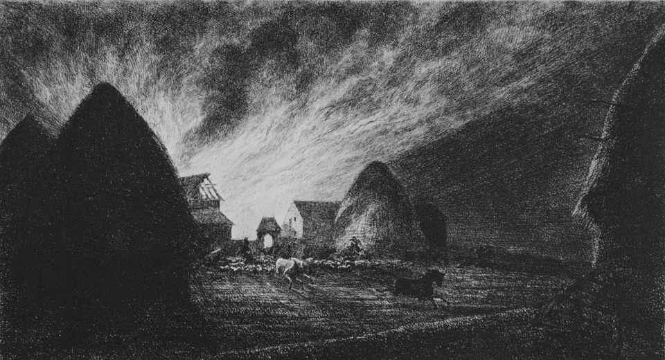 Шарль-Франсуа Добиньи. Пожар на ферме