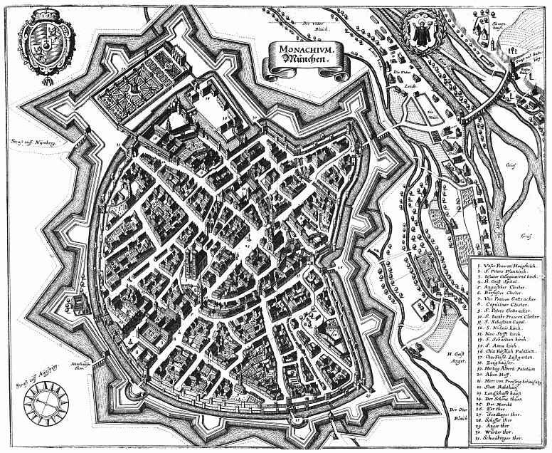 Маттеус Мериан Старший. Мюнхен, панорамный план с юго-запада