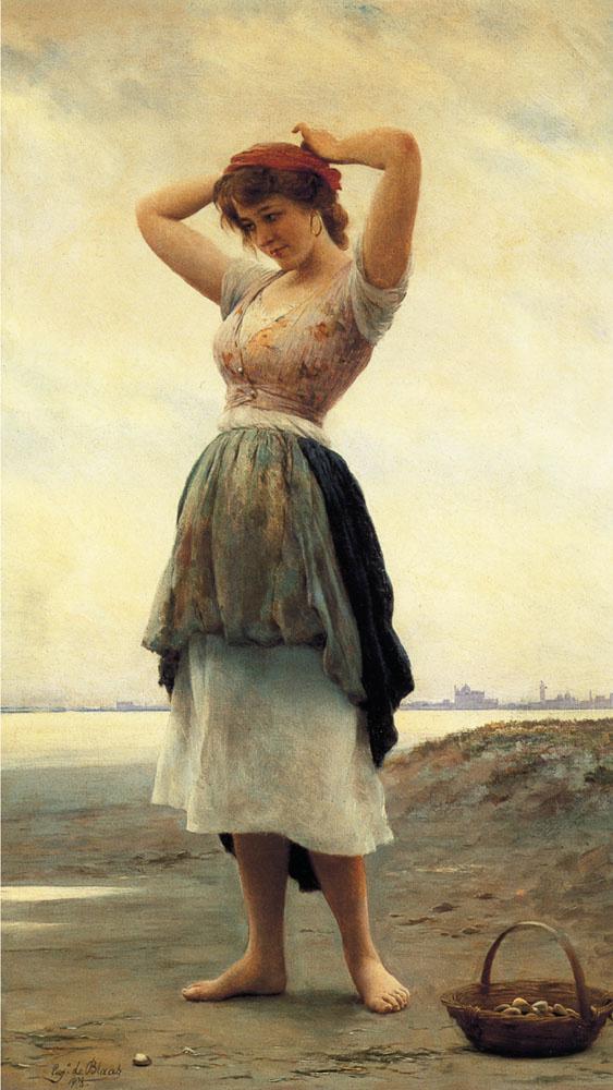 Eugene de Blaas. On the beach