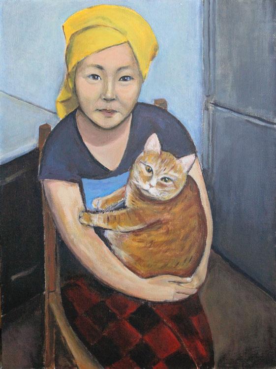 Indira Baldano. Erzhena with a cat