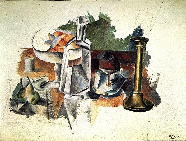 Пабло Пикассо. Натюрморт с графином и подсвечником
