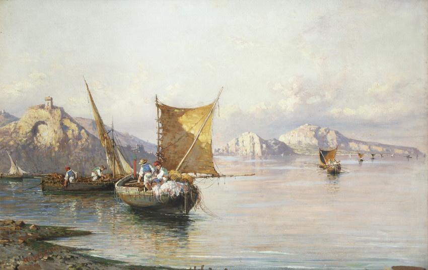 Ivan Aivazovsky. A fishing boat off the coast of Naples