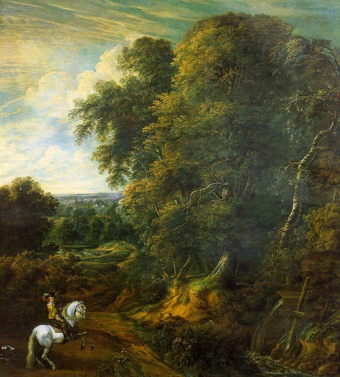 Корнелий Гюисманс. Всадник на белом коне в лесу