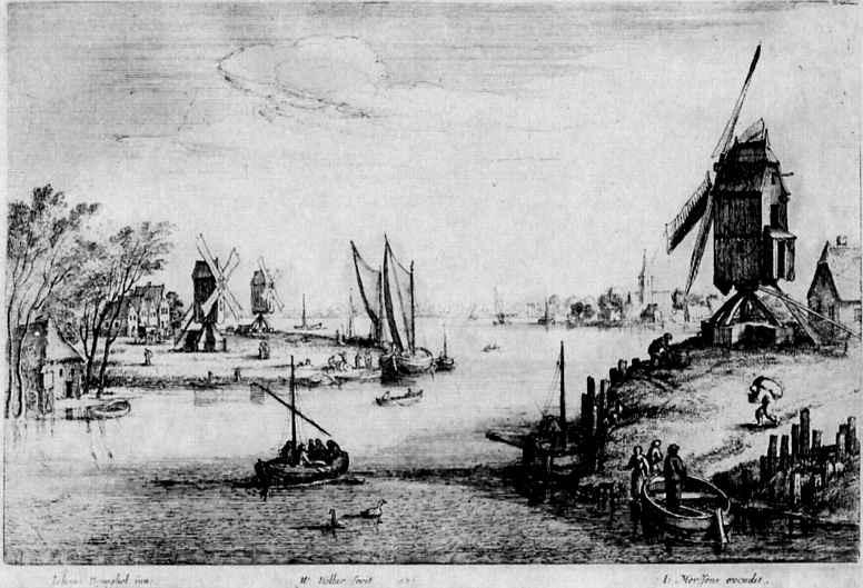 Венцель Холлар. Пейзаж с тремя ветряными мельницами